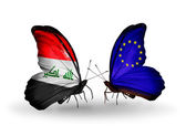 Butterflies with Iraq and European Union flags — Stock Photo
