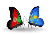 Butterflies with Afghanistan and Kazakhstan  flags — Stock Photo