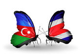 Butterflies with Azerbaijan and Costa Rica flags — Stock Photo