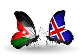 Butterflies with Jordan and Iceland flags — Stock Photo