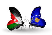 Butterflies with Jordan and Kosovo flags — Stock Photo