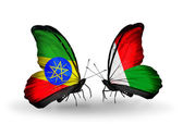 Farfalle con bandiere Etiopia e madagascar — Foto Stock