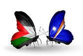 Borboletas com sinalizadores de palestina e ilhas marshall — Fotografia Stock