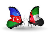 Two butterflies with flags of  Azerbaijan and  UAE — Stock Photo