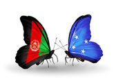 Two butterflies with flags of Afghanistan and Micronesia — 图库照片