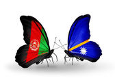Two butterflies with flags of  Afghanistan and Nauru — Stock Photo