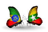 エチオピアとミャンマーのフラグを持つ 2 つの蝶 — ストック写真