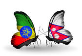 Two butterflies with flags of  Ethiopia and Nepal — Stock Photo
