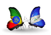 Two butterflies with flags of  Ethiopia and Nicaragua — Stock Photo