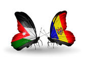 Two butterflies with flags of Jordan and Moldova — Stock Photo