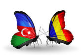 Two butterflies with flags of  Azerbaijan and  Chad, Romania — Stock Photo