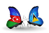 Two butterflies with flags of Azerbaijan and  Saint Lucia — Stock Photo