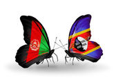 Two butterflies with flags of  Afghanistan and Swaziland — 图库照片