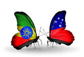Two butterflies with flags of   Ethiopia and Samoa — Stock Photo