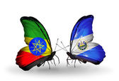 Two butterflies with flags of   Ethiopia and Salvador — ストック写真