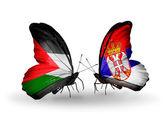 Две бабочки с флагами Палестины и Сербия — Стоковое фото