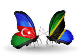 Two butterflies with flags of   Azerbaijan and Tanzania — Stock Photo