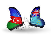 Two butterflies with flags of   Azerbaijan and Tuvalu — Foto de Stock