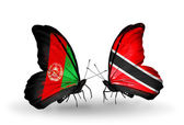 Two butterflies with flags of   Afghanistan and Trinidad and Tobago — Stock Photo