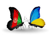 Two butterflies with flags of  Afghanistan and Ukraine — Stock Photo