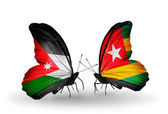 Two butterflies with flags  of Jordan and Togo — Stock Photo