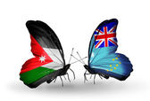 Two butterflies with flags  of Jordan and Tuvalu — Stock Photo