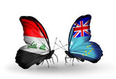Two butterflies with flags  of  Iraq and Tuvalu — Stock Photo