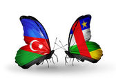 Two butterflies with flags  of Azerbaijan and  CAR — Stock Photo