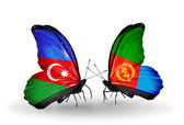 Two butterflies with flags  of  Azerbaijan and  Eritrea — Stock Photo