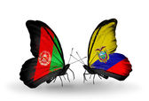Two butterflies with flags  of Afghanistan and Ecuador — Stock Photo