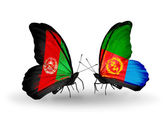 Two butterflies with flags  of  Afghanistan and Eritrea — Stock Photo