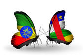 Two butterflies with flags  of Ethiopia and CAR — Stock Photo