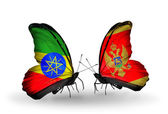 Two butterflies with flags  of Ethiopia and Montenegro — Stock Photo