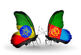 Two butterflies with flags  of  Ethiopia and  Eritrea — Stock Photo