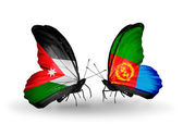 Two butterflies with flags  of Jordan and Eritrea — Stock Photo