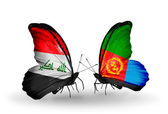 Two butterflies with flags  of Iraq and Eritrea — Stock Photo