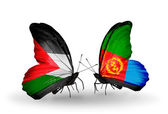 Two butterflies with flags  of  Palestine and Eritrea — Stock Photo