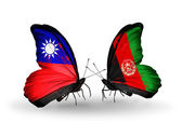 Butterflies with Taiwan and Afghanistan flags — Photo