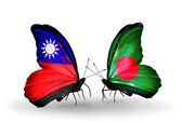 Schmetterlinge mit taiwan und bangladesch flags — Stockfoto