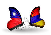 Butterflies with Taiwan and Armenia flags — Stock Photo
