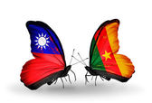 Butterflies with Taiwan and Cameroon flags on wings — Stock Photo