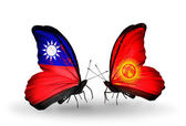 Butterflies with Taiwan and Kirghiz flags on wings — Stock Photo