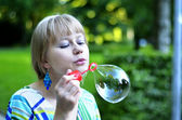 Big soap bubble — Stock Photo