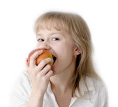 Taste an apple and smile! — Stock Photo