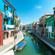 Venice, Burano island - Coloured houses and canal — Stock Photo