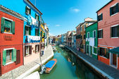 Venice, Burano island - Coloured houses and canal — Stok fotoğraf