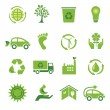 Set of 16 green icons — Stock Vector