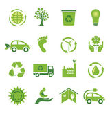 Set van 16 groene iconen — Stockvector
