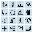 Set of 16 management and human resources icons — Stock Vector #13170209