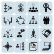 Set of 16 management and human resources icons — Stock Vector